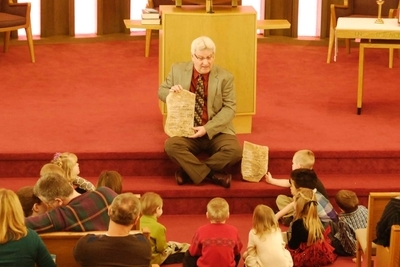 Pastor Doug and children for Children's Message
